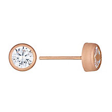 9ct Rose Gold Cubic Zirconia Set Rubover Stud Earrings - Product number 3733572