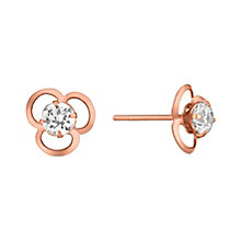 9ct Rose Gold Cubic Zirconia Set Flower Stud Earrings - Product number 3733580
