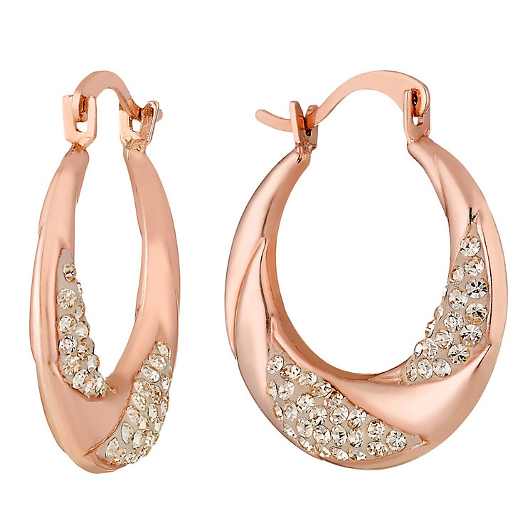 9ct Rose Gold Champagne Crystal Set Creole Earrings - Product number 3733602