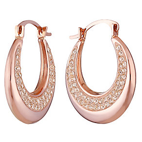 9ct Rose Gold Champagne Crystal Set Creole Earrings - Product number 3733629
