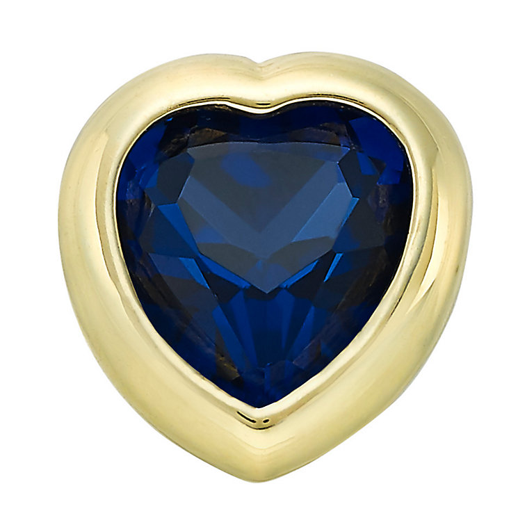 Your Story 9ct Gold September Created Sapphire Heart Charm - Product number 3734358