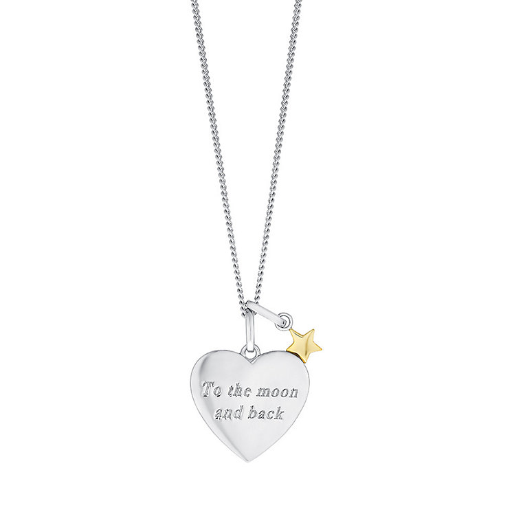 Sterling Silver & 9ct Gold Moon & Stars Heart Pendant - Product number 3734811