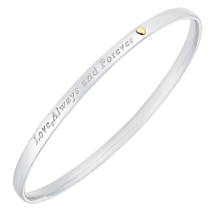 Sterling Silver & 9ct Gold 'Love, Always & Forever' Bangle - Product number 3734838