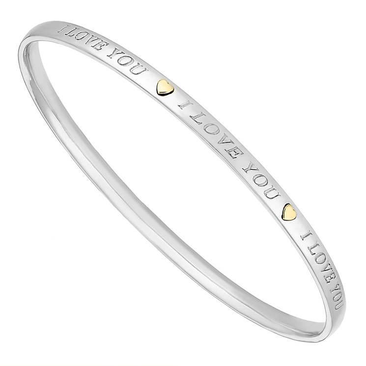 Sterling Silver & 9ct Yellow Gold 'I Love You' Bangle - Product number 3734846