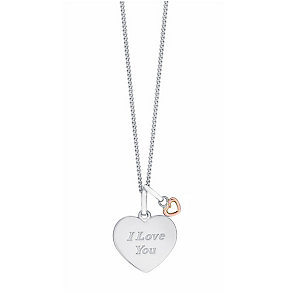 Sterling Silver & 9ct Rose Gold 'I Love You' Heart Pendant - Product number 3734862