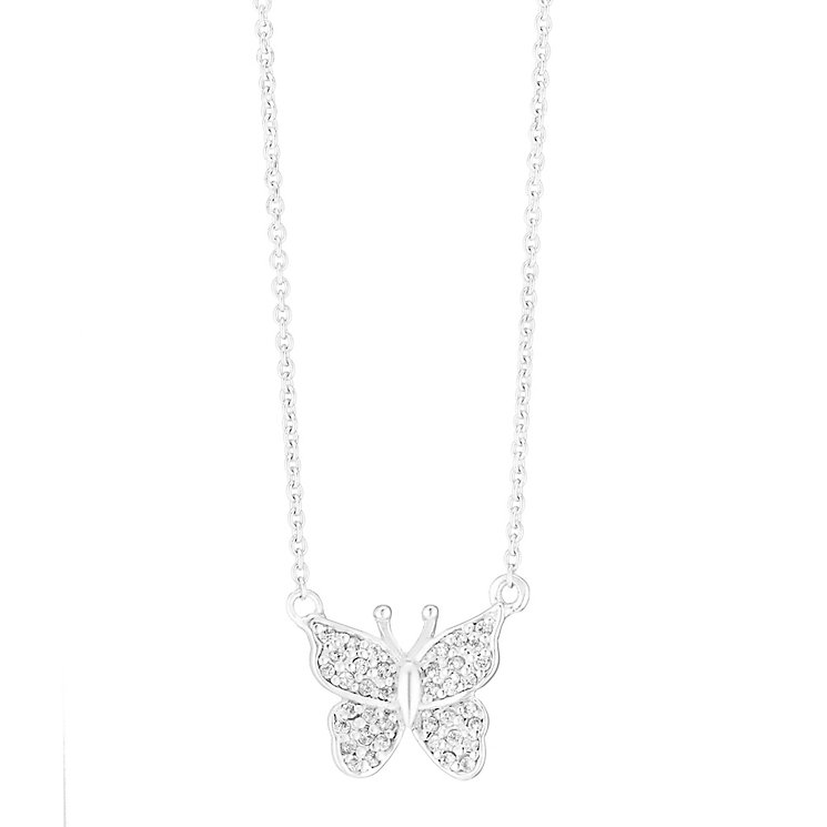 Sterling Silver & Cubic Zirconia Butterfly Pendant - Product number 3735044