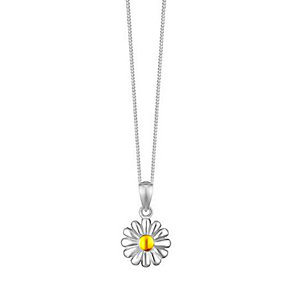 Sterling Silver & Yellow Gold Daisy Pendant - Product number 3735087