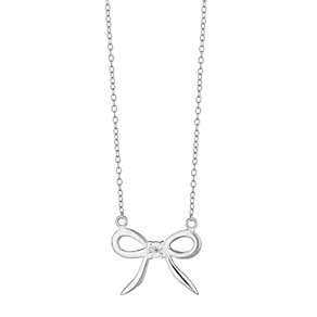 Sterling Silver & Cubic Zirconia Bow Pendant - Product number 3735109
