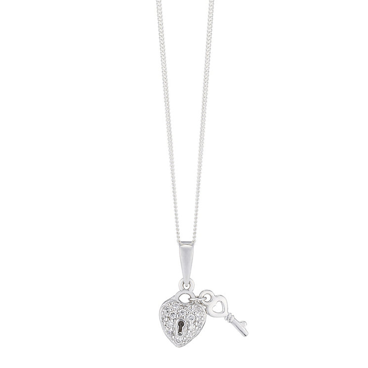 Sterling Silver & Cubic Zirconia Padlock & Key Pendant - Product number 3735125