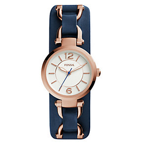 Fossil Ladies' Georgia Artisan Navy Blue Leather Watch - Product number 3735265