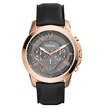 Fossil Men's Grant Rose Gold Plated Black Leather Watch - Product number 3737063