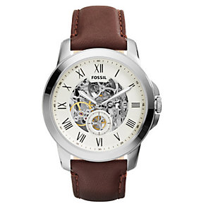Fossil Men's Grant Skeleton Brown Leather Watch - Product number 3737098