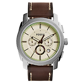 Fossil Men's Stainless Steel & Brown Leather Strap Watch - Product number 3737322