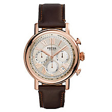 Fossil Men's Buchanan Rose Gold Plated Leather Strap Watch - Product number 3737586