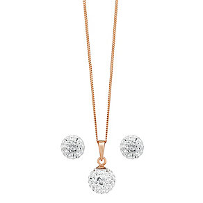 Evoke Rose Gold-Plated Crystal Ball Pendant & Stud Earrings - Product number 3738140