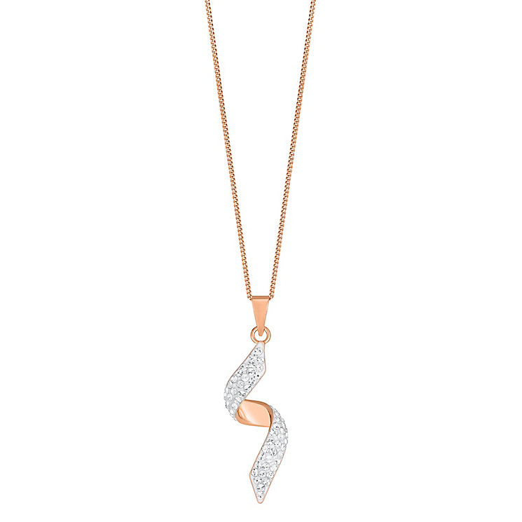 "Evoke Rose Gold-Plated Crystal Twist Pendant With 18"" Chain - Product number 3738299"