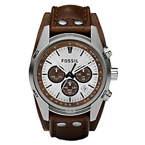 Fossil Men's Stainless Steel & Brown Leather Strap Watch - Product number 3742881