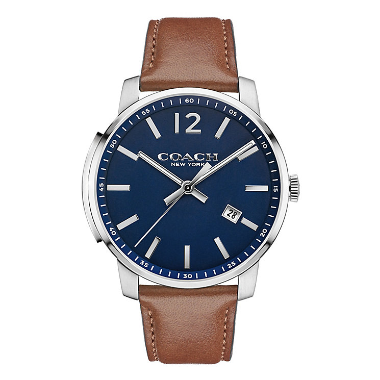 Coach Bleecker Slim Men's Sterling Silver Brown Strap Watch - Product number 3743799