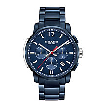 Coach Men's Ion Plated Blue Dial Chronograph Bracelet Watch - Product number 3744582
