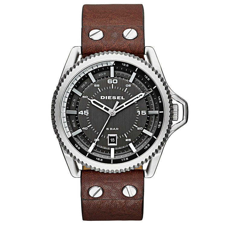 Diesel Mens Rollcage Gunmetal Dial Brown Leather Strap Watch - Product number 3745635
