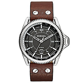Diesel Men's Grey Dial Brown Leather Strap Watch - Product number 3745635