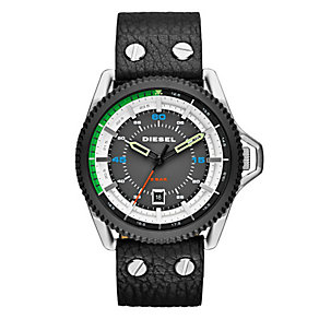Diesel Men's Grey Dial Black Leather Strap Watch - Product number 3745643