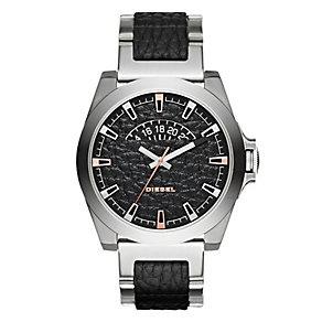 Diesel Men's Stainless Steel & Black Leather Bracelet Watch - Product number 3745651