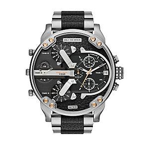 Diesel Mens Mr Daddy Black Dial Black Steel Bracelet Watch - Product number 3745724