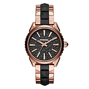 Diesel Nuki Ladies' Leather Rose Gold-Plated Bracelet Watch - Product number 3745732