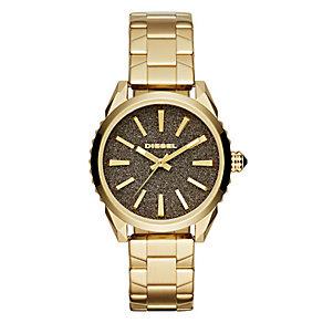 Diesel Nuki Ladies' Grey Dial Gold-Plated Bracelet Watch - Product number 3745775