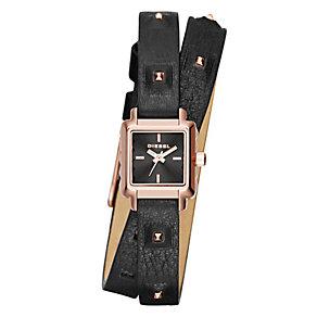 Diesel Ladies' Black Leather Wrap Strap Watch - Product number 3745791