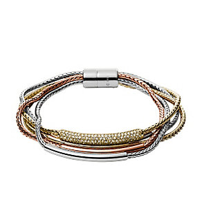 Fossil Ladies' Three Colour Multi Strand Stone Set Bracelet - Product number 3749584