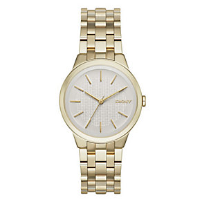 DKNY Ladies' Silver Dial Gold-Plated Bracelet Watch - Product number 3749746