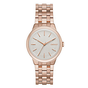 DKNY Ladies' Silver Dial Rose Gold-Plated Bracelet Watch - Product number 3749754