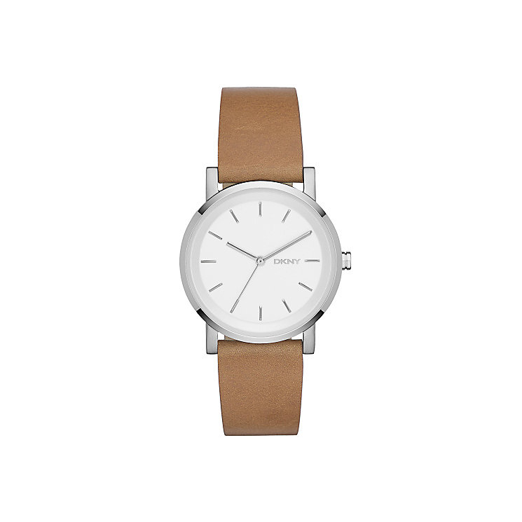 DKNY Ladies' Mother Of Pearl Dial Brown Leather Strap Watch - Product number 3750612
