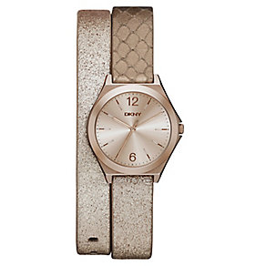 DKNY Ladies' Gold Dial Gold Leather Double Wrap Strap Watch - Product number 3750663