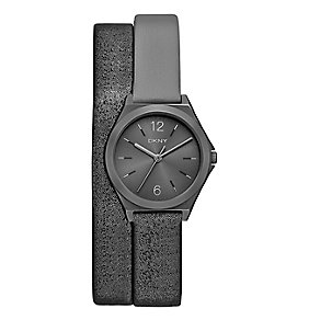 DKNY Ladies' Gunmental Leather Double Wrap Strap Watch - Product number 3750671