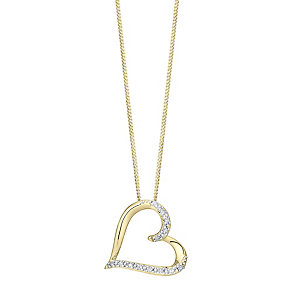 9ct gold heart pendant with a concealed diamond - Product number 3750701