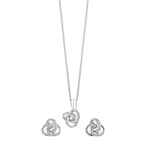 9ct white gold pendant earring set with a concealed diamond - Product number 3750795