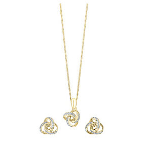 9ct gold pendant earring set with a concealed diamond - Product number 3750817