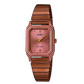 Casio Ladies' Square Dial Rose Gold-Plated Bracelet Watch - Product number 3750876
