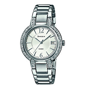 Casio Sheen Ladies' Stone Set Stainless Steel Bracelet Watch - Product number 3750965