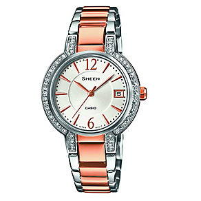 Casio Sheen Ladies' Stone Set Stainless Steel Bracelet Watch - Product number 3751058