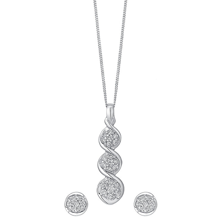 9ct white gold pendant & earrings with a concealed diamond - Product number 3751783