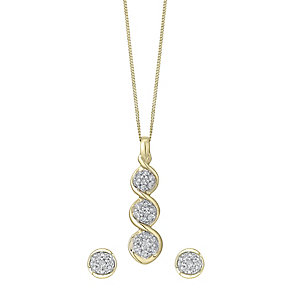 9ct gold pendant & earrings set with a concealed diamond - Product number 3751805
