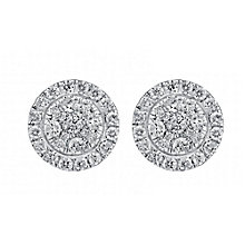 18ct white gold 1ct diamond earrings with concealed diamond - Product number 3751821