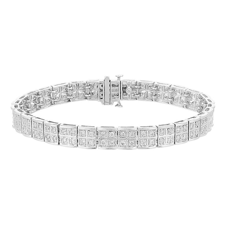 9ct white gold 2ct diamond bracelet with concealed diamond - Product number 3751848