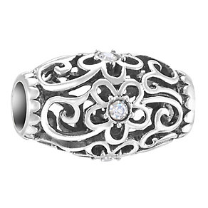 Chamilia Sterling Silver Stone Set Floral Filigree Bead - Product number 3757137