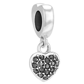 Chamilia Sterling Silver Jet Hematite Petite Heart Bead - Product number 3757366