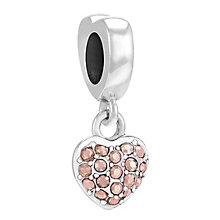 Chamilia Sterling Silver Rose Gold Crystal Petite Heart Bead - Product number 3757382